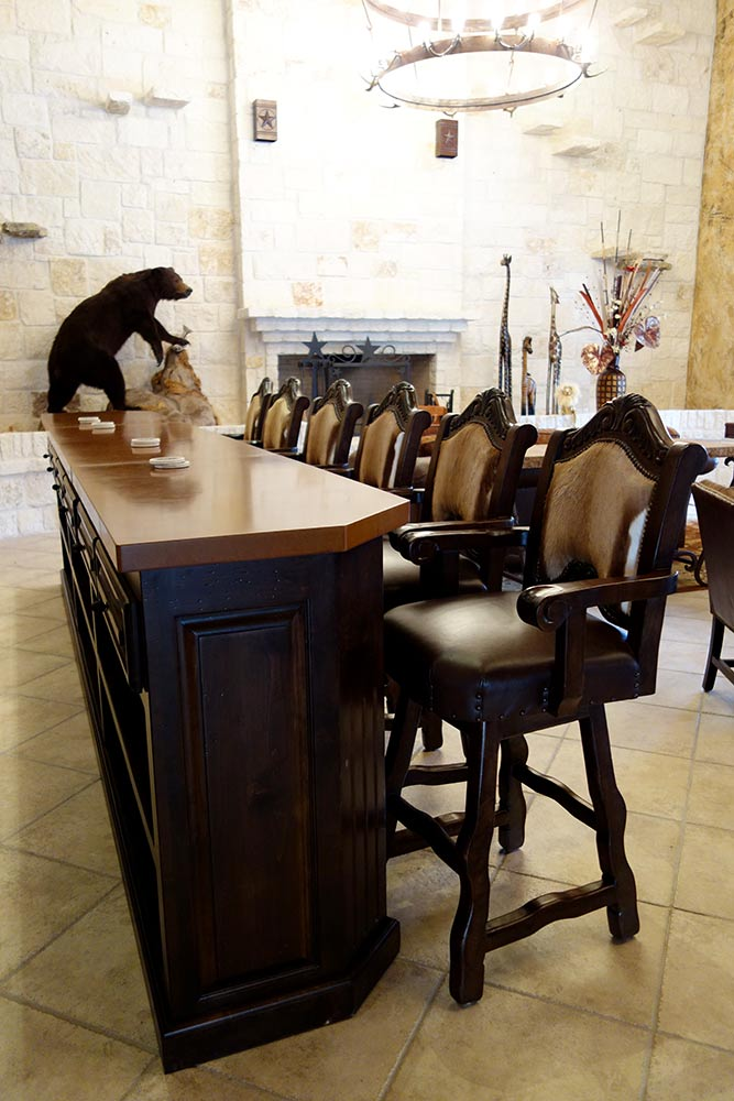 Ranch House Saloon Bar with Exotic Hide Bar Stools