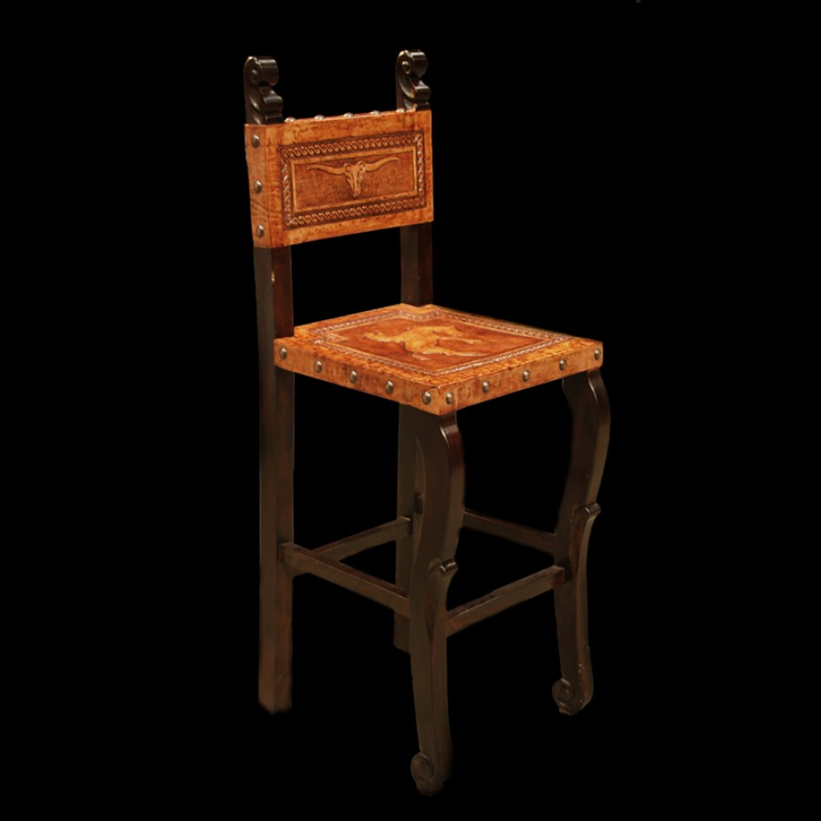 Cowboy Bar Chair with Leather Seat